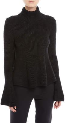 Oscar de la Renta Metallic Bell-Sleeve Turtleneck Sweater