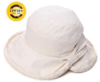 Siggi Ladies UPF50+ Summer Sunhat Cotton Linen Bucket Packable Breathable Wide Brim Hats w/Chin Cord Beige