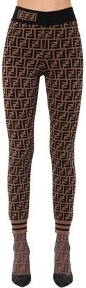 Fendi Logo Printed Viscose Knit Leggings