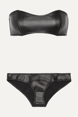 Lisa Marie Fernandez The Natalie Rubber Neoprene Bandeau Bikini - Black