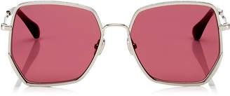 Jimmy Choo ALINE Red Mirror Square Sunglasses with Silver Frame