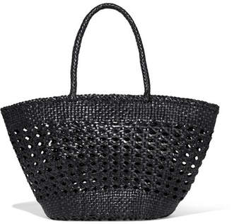 Dragon Optical Diffusion Cannage Woven Leather Tote - Black