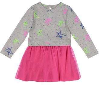 G-Cutee Newborn Baby Girl Grey & Pink Star Print Dress with Tulle Skirt