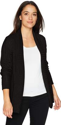 Jason Maxwell Women's Petite Long Sleeve Marled Mix-Stich Roll Back Collar Cardigan