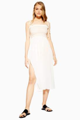 6d09e63311ead Topshop Womens Shirred Trim Dress - Cream