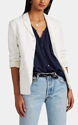 Pas De Calais Women's Organza-Trimmed Linen Plain-Weave Blazer - White