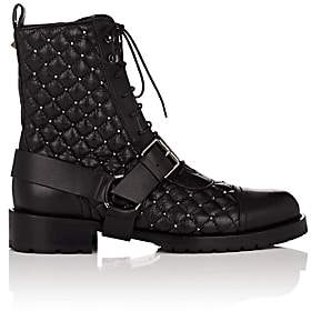 Valentino Women's Rockstud Spike Leather Combat Boots-Black