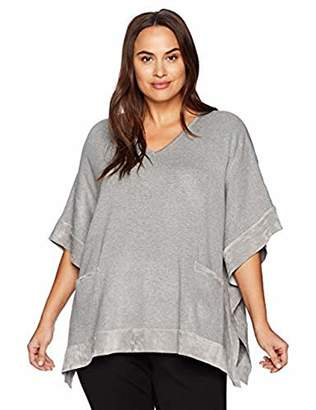 Calvin Klein Women's Plus Size Sweater Cape with Suede Detail