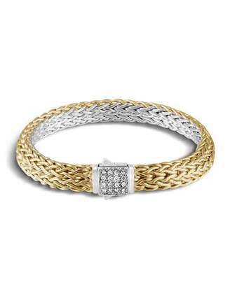 John Hardy Classic Chain Reversible 18K Gold Bracelet & Sterling Silver Bracelet with Diamond Station