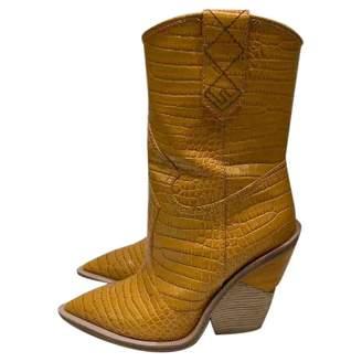 Fendi Yellow Leather Boots