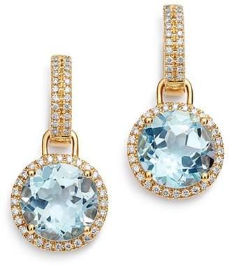 Kiki McDonough 18K Yellow Gold Grace Round Blue Topaz & Diamond Drop Earrings