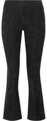 The Row Athby Stretch-suede Bootcut Pants - Black