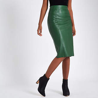 River Island Green faux leather pencil skirt