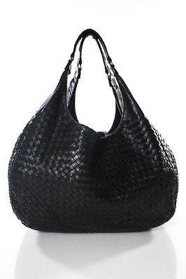 Bottega VenetaBottega Veneta Black Woven Leather Medium Campana Hobo Shoulder Handbag