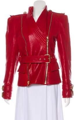 Balmain Belted Nappa Leather Jacket