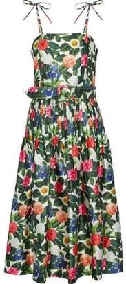 Oscar de la Renta Floral-Print Silk And Cotton-Blend Twill Midi Dress