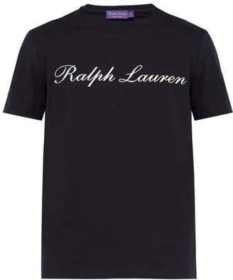 Ralph Lauren Purple Label Logo Print Cotton T Shirt - Mens - Navy