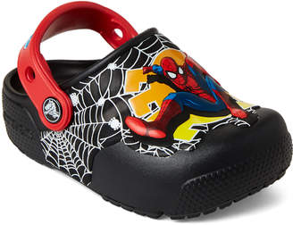 Crocs Infant/Toddler Boys) Black Fun Lab Spider-Man Light-Up Clogs