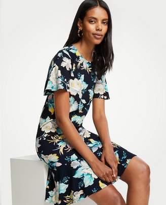 Ann Taylor Petite Chinoiserie Tropics Flounce Shift Dress