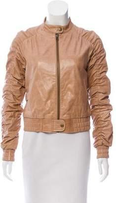Alice + Olivia Leather Ruched Jacket