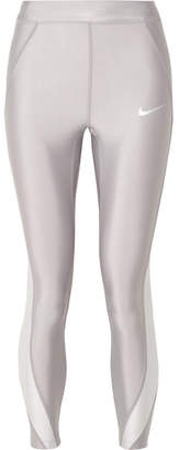 Nike Speed Cropped Paneled Metallic Dri-fit Stretch Leggings - Silver