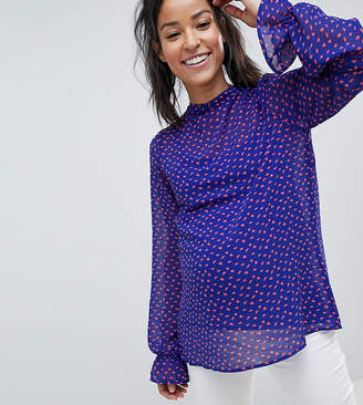 Mama Licious Mama.Licious Mamalicious Polka Dot Pussybow Blouse