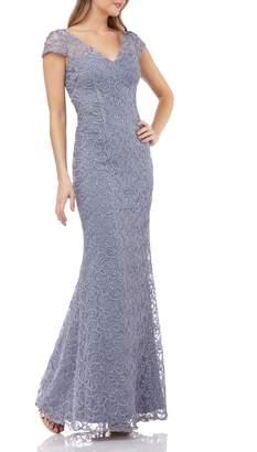 JS Collections Illusion Yoke Soutache Evening Dress
