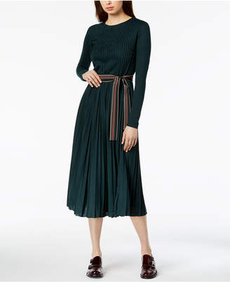 Marella Dorato Pleated Long-Sleeve Dress