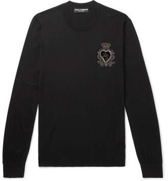 Dolce & Gabbana Slim-Fit Logo-Appliquéd Virgin Wool Sweater