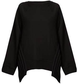 MM6 MAISON MARGIELA Pleated contrast-panel crew-neck cotton sweatshirt