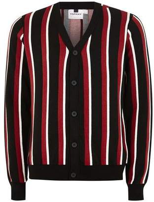 Topman Mens Black, Burgundy and White Striped Cardigan