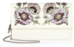 Alexander McQueen Alexander McQueen Crystal-Embroidered Leather Chain Wallet