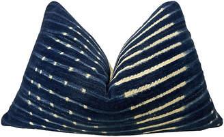 One Kings Lane Vintage Mali Indigo Blues & Cable Knit Pillow
