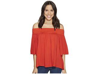 BB Dakota Lin Rayon Crepe Off Shoulder Top with Novelty Elastic Trim Women's Clothing