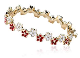 Little Miss Twin Stars Frosted Flowers 14k Gold-Plated Red And White Cut Out Flowers Oval Hinged Bangle