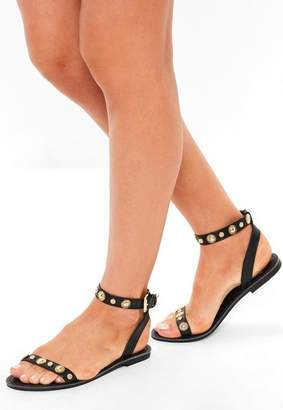 Missguided Black Two Strap Gold Trim Flat Sandals
