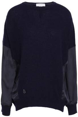 Amanda Wakeley Satin-Paneled Cashmere And Wool-Bend Top