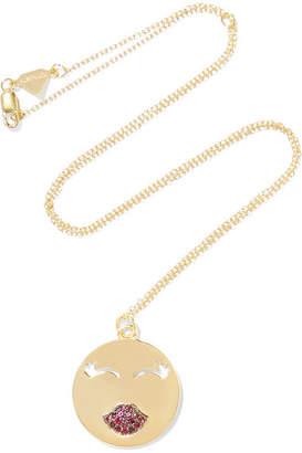 Alison Lou Mwa! 14-karat Gold Ruby Necklace