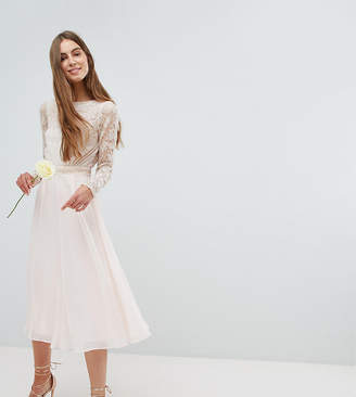 Amelia Rose Tall Embroidered Long Sleeve Midi Dress With Plunge Back Detail