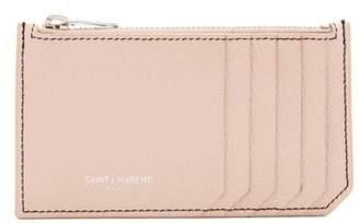 Saint Laurent Fragments Grained Leather Cardholder - Womens - Light Pink