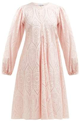Ganni Sandrose Broderie Anglaise Midi Dress - Womens - Light Pink