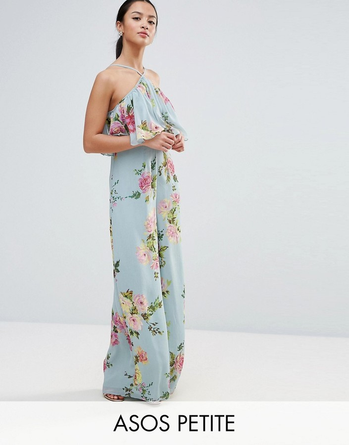 Asos ASOS Petite ASOS PETITE Jumpsuit in Crinkle with Wide Leg and Halter Neck in Floral Print