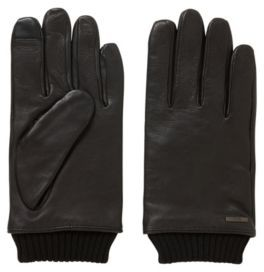 416e2ac839d10e BOSS Touchscreen leather gloves with knitted cuffs