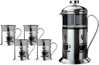 Berghoff Silver French Coffee Press & Cups 5-Piece Set