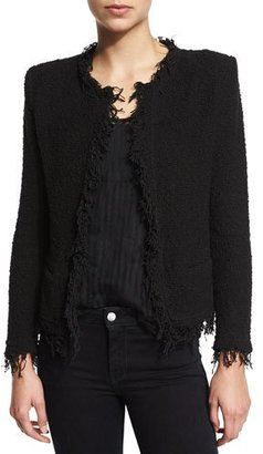 Iro Shavani Open-Front Boucle Jacket, Black $380 thestylecure.com