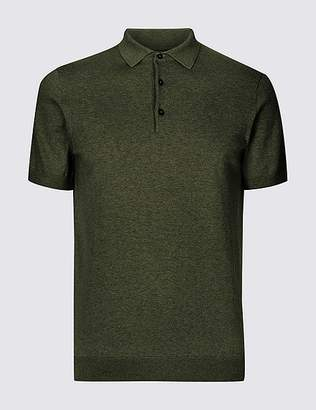 Marks and Spencer Cotton Rich Knitted Polo Shirt