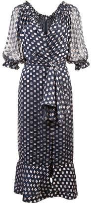 Saloni print ruffled wrap dress