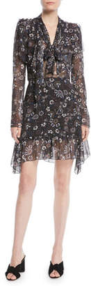 See by Chloe Printed Tie-Neck Long-Sleeve Flounce Dress