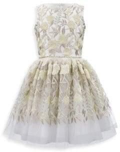 Girl's Sleeveless Embroidered Tulle Dress