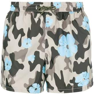 Nos Beachwear camouflage and flower print swim shorts